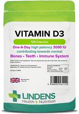 Vitamin D3 3000IU capsules (120 pack) Bone, teeth, immune system [Lindens 1110]