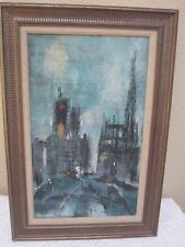 Mid-Century Modern Abstract Painting City Scene By A George Miller