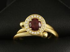 Flexibler Brillant Rhodolith Ring für die Ringweiten 55-70 750/-Gelbgold