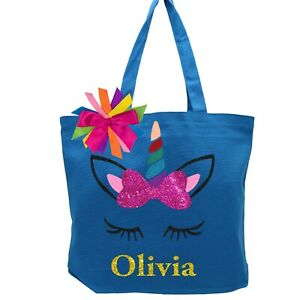 Girls Kids Youth Personalized Tote Bag Rainbow Unicorn Ballet Dance Cheer Gym