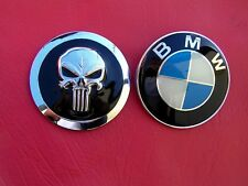 PUNISHER BMW HOOD REPLACEMENT CAR EMBLEM Metal Badge (BMW logo not included) NEW