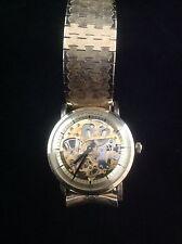 Rare Unusual Vintage 17 Jewel Men's Wittnauer Skeleton Watch 10k GF c1960's