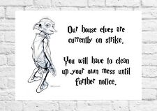 Dobby The House Elf Poster - Harry Potter Font - Must Have For All Fans - A4