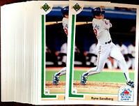 1991 Upper Deck FE RYNE SANDBERG ~ 20 CARD LOT ~ CHICAGO CUBS STAR