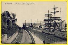 CPA France 44 - NANTES Chemins de Fer TRAIN ROCHERS de l'HERMITAGE PORT VOILIERS