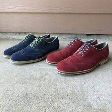 Johnston & Murphy Ellington Red & Blue Suede Wingtip Laceup Oxford Shoes Mens 11