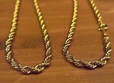 """14k Gold Plated Rope Necklace: 3mm x 30"""" Lariat Jewelry Chain Vintage Wearever"""