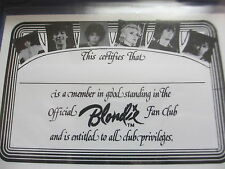 Blondie 1978 Fan Club Membership Card; Unused; Ex/Nm Cond; Sleeve Kept