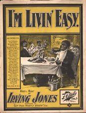 I'm Livin Easy 1899 Large Format Sheet Music