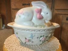 1.5 Qt Oval Covered Casserole & Bunny Lid in Tea Rose by Pfaltzgraff 11.25 x 4x7