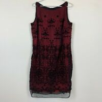Jacqui E Womens Vintage Red Black Floral Sleeveless Lined Dress Size 14