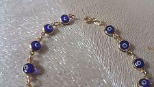 "14K Yellow Gold Evil Eye Good Luck Blue Color 4mm Crystal Bracelet chain 6"""
