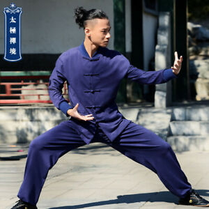 Mens Traditional Chinese Tang Suit Bruce Lee Kung Fu Uniform Martial Arts Suit