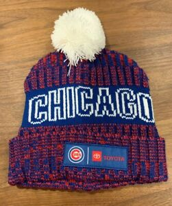 Chicago Cubs Beanie Winter Hat Pom Pom Red And Blue toyota
