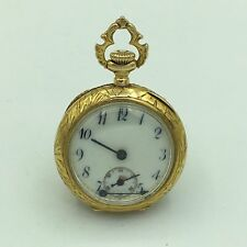 Antique Wittnauer 17J 14K Yellow Gold & Diamond Ladies Open Face Pocket Watch