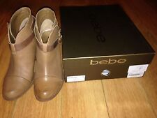 NIB! Bebe Cameron Beige/Nude/Tan Leather Booties/Boots Aldo 7 but fits 7.5 & 8