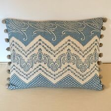 """NEW Kate Forman Elodie Blue Fabric 17""""x13"""" Pom Pom or Piped Cushion Cover"""