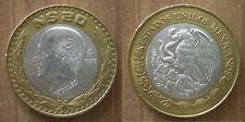 Mexico 20 Nuevos Pesos 1993 Hidalgo Coin Silver Bimetallic Eagle Free Ship World