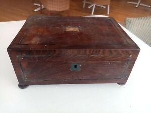 Antique Victorian Rosewood veneer wood wooden box for restoration and repair