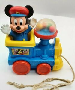 Vintage Disney Mickey Mouse Train Bouncing Poppin' Sounds Pull String Toy