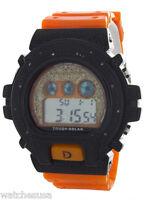King Master Unisex Black Case Orange Rubber Strap Diamond .12ct Digital Watch