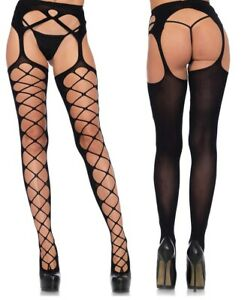 Diamond Net Opaque Stockings W/Attached Garterbelt, Suspender Tights, Crotchless