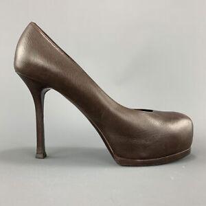 YVES SAINT LAURENT Size 6.5 Brown Leather TRIBUTE Platform Pumps