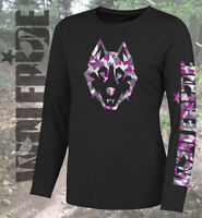 Cammo wolf, ladies long sleeve technical performance jersey  mtb, mountain bike