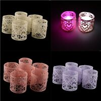 6x Table Decoration Paper Heart Votive LED Tea Light Candle Holder Wedding Party