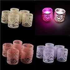 6x Paper Heart Votive LED Tea Light Candle Holder Wedding Party Table Decoration