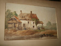 19TH CENTURY IMPRESSIONIST WATERCOLOUR A  VIEW OF COTTAGES
