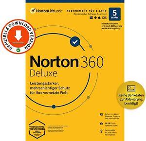 NORTON 360 Deluxe 2021 5 Geräte 1 Jahr Lizenz Versand sofort per EMAIL