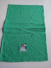 Vintage Hand Crafted Needlepoint Snowman Snow Woman Couple Napkin Finger Towel