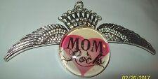 "Pink Gem Wings Pendant for Necklace-Htf Vintage 2.25"" x 4.5"" Exquisite Mom Rocks"