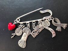 I LOVE KNITTING VINTAGE SILVER TONE KILT PIN BROOCH PRESENT  in GIFT BAG