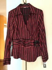 Women's NWT Apt. 9 Black and Red Striped Surplus Wrap Top With Faux Belt—Size M