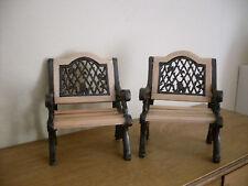 Dollshouse Miniature   ~ PINE & BLACK ~  Garden Chairs