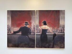 2 X Brent Lynch Canvas Wall Art Prints- Cigar Bar and Evening Lounge 80x60cm Red
