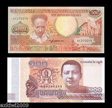 Suriname 500 Gulden 1988 + FREE Cambodia 2015 100 Riels Mint UNC Set 2 PCS