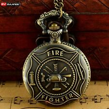 Pendant Pocket Watch Antique Quartz Vintage Bronze Necklace Fire Fighter Retro