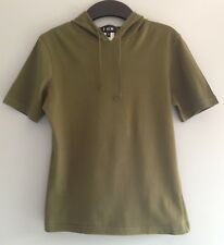 RARE Vintage 90's ICB Khaki Short Sleeve Hoodie Top; Trainspotting Small, UK8-10