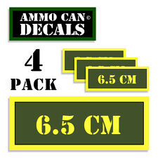 """6.5 CM Ammo Can 4x Labels Ammunition Case 3""""x1.15"""" stickers decals 4 pack AG"""