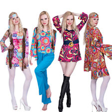 Ladies Hippie Hippy Costume Adult 60s 70s Fancy Dress Womens Outfits