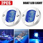 2x Round Marine Boat Led Courtesy Lights Cabin Deck Stern Navigatioin Light Blue