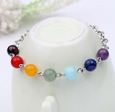 Chakra 7 Stone Gemstone Yoga Healing Point Crystal 8mm Bead Bracelet Stretchy