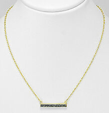 """18-20"""" Plated 18K Yellow Gold Necklace Black Diamond Bar UNIQUE 24mm"""