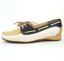HASSIA Petra 1780 Women Comfy Leather Slipper Lace Loafer Beige Navy White 5.5 G