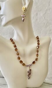 Gold Filled Purple Pearls Glass Bead Necklace Set Flower Cluster Bead Earrings