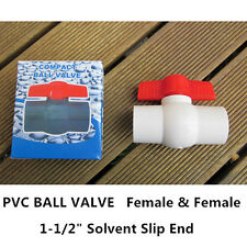 "PVC Ball Valve - 1-1/2"" (40mm)  Solvent Slip End - F/F"