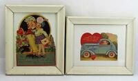 Adorable Vintage Valentines Cards Framed Late 30's Early 40's Set Of 2